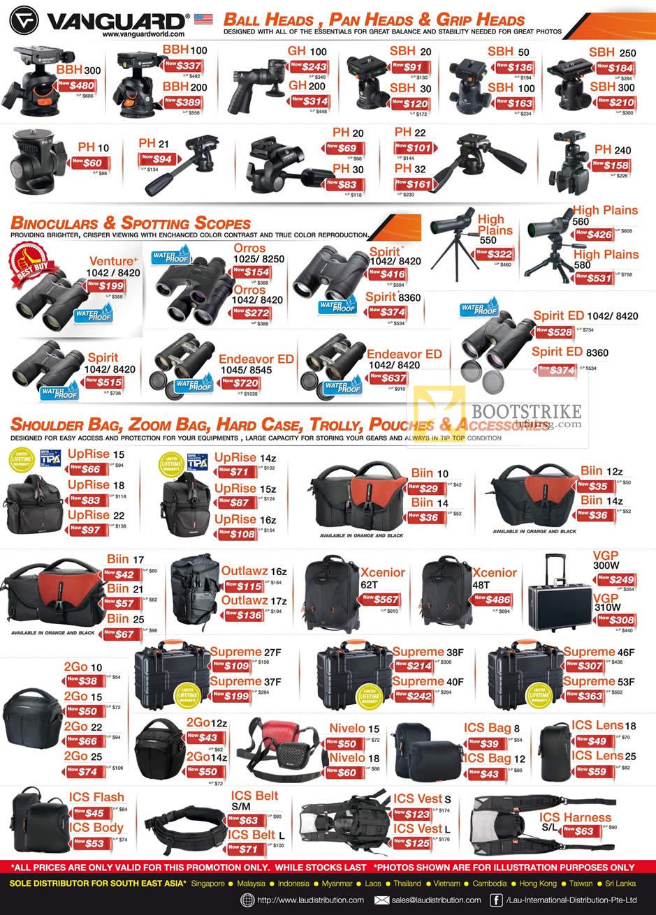 COMEX 2012 price list image brochure of Lau Intl Vanguard Ball Heads, Pan Heads, Grip Heads BBH GH, SBH, PH, Binoculars, Scopes, Bags, Belts, Flash