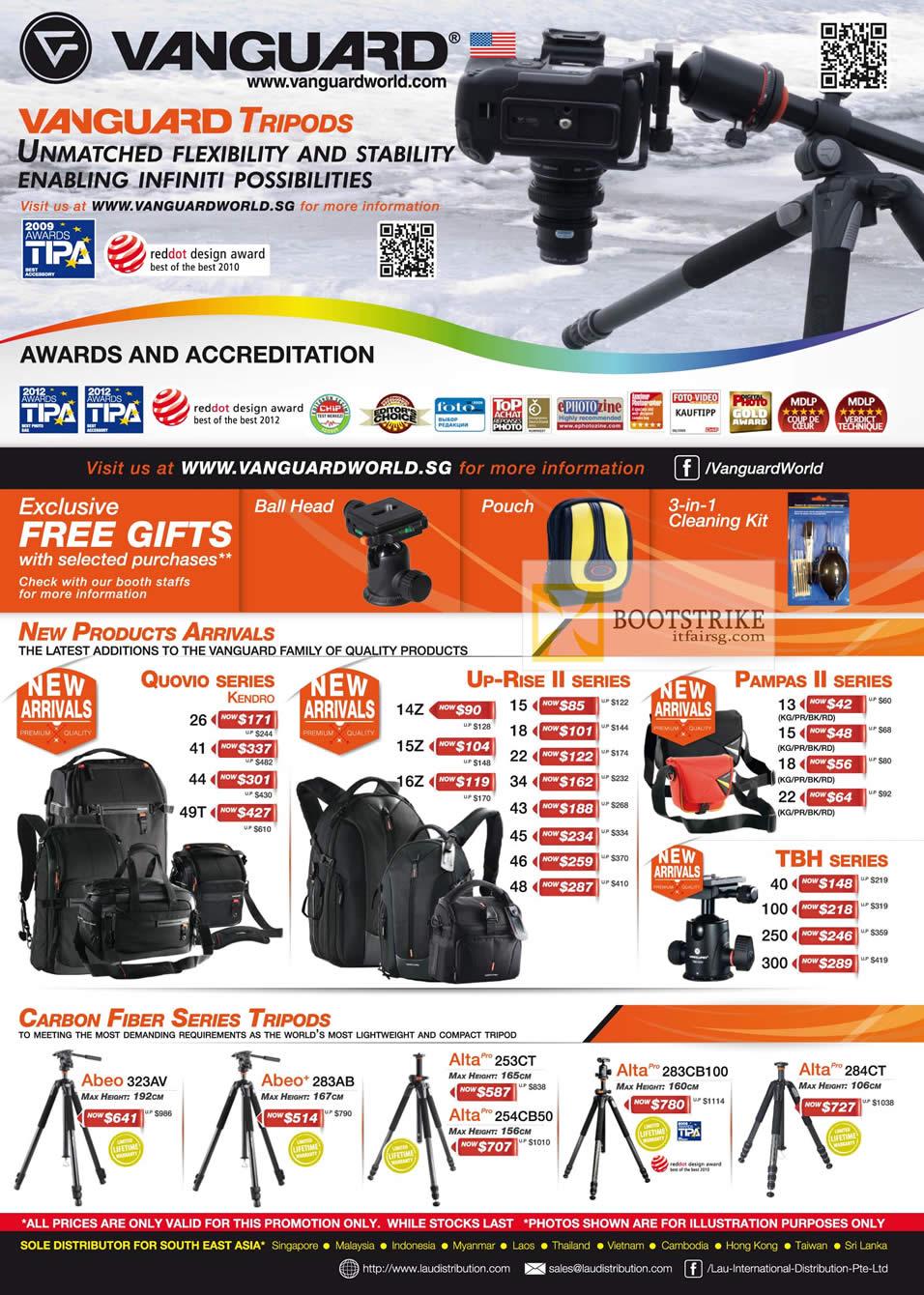 COMEX 2012 price list image brochure of Lau Intl Vanguard Tripods Quovio, Up-Rise II, Pampas II, TBH, Carbon Fiber Abeo, Alta