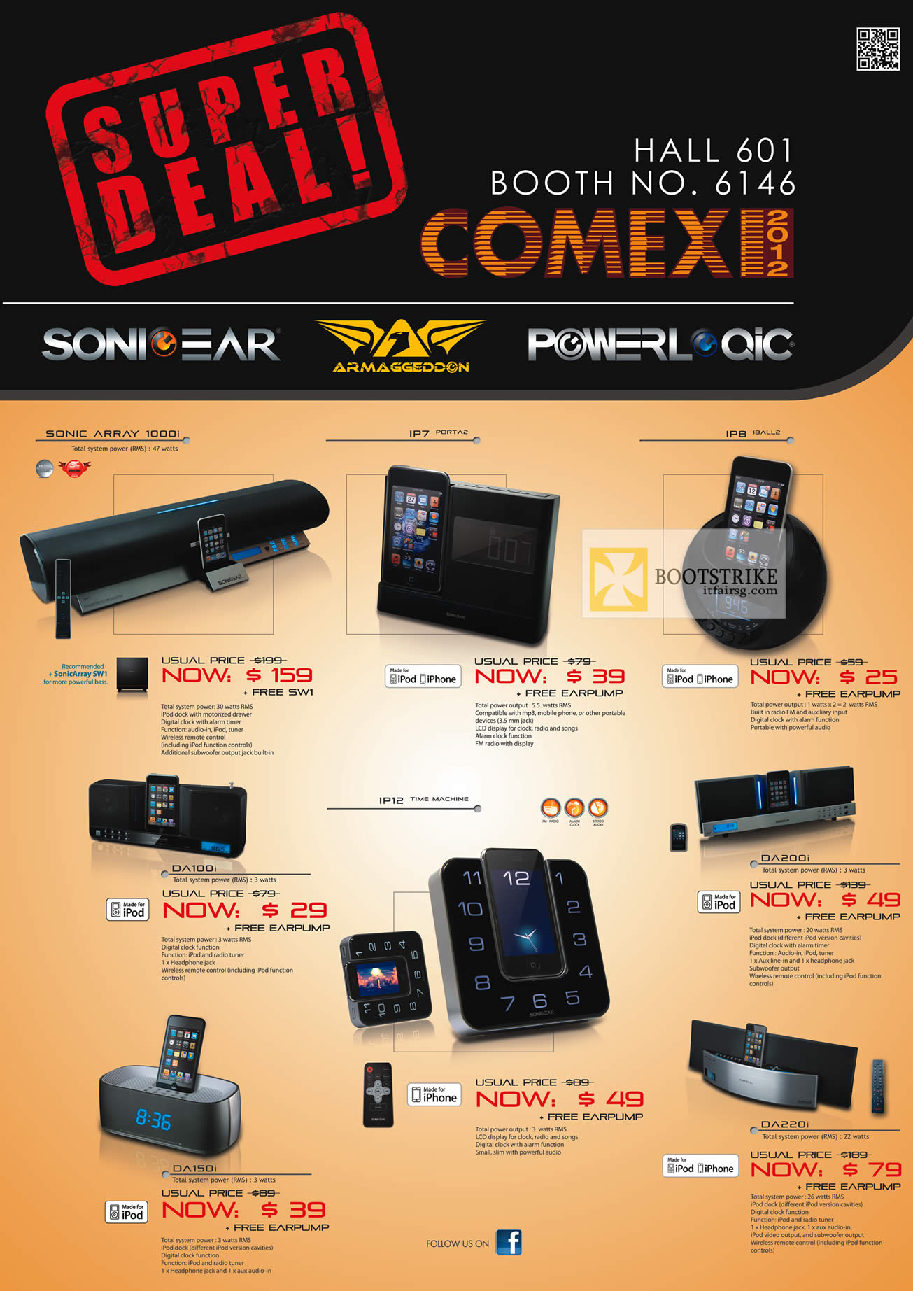 COMEX 2012 price list image brochure of Leap Frog Sonicgear Powerlogic Armaggeddon Speakers, Docking Stations, Sonic Array 1000i, IP7, IP8, DA100i, IP12, DA200i, DA150i, DA220i