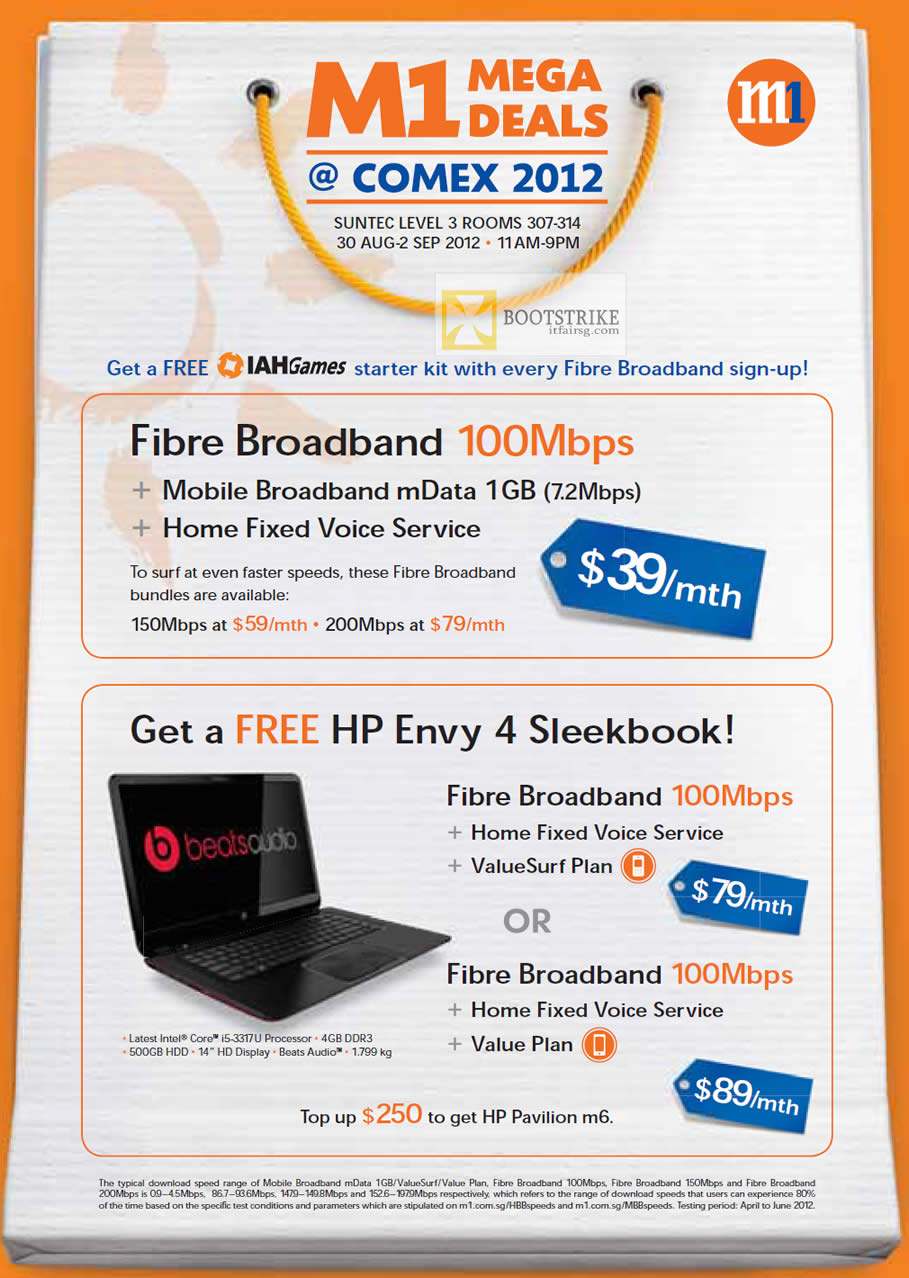 COMEX 2012 price list image brochure of M1 Broadband Fibre 100Mbps 39 Dollar Mobile Broadband, Fixed Voice, Free HP Envy 4 Sleekbook Notebook