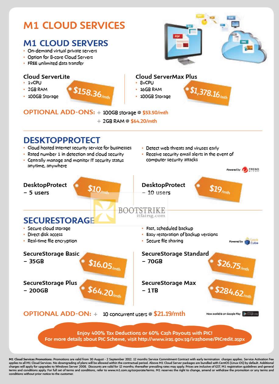 COMEX 2012 price list image brochure of M1 Business Cloud ServerLite, ServerMax Plus, Desktop Protect 5, 10 Users, Secure Storage Basic, Plus, Standard, Max