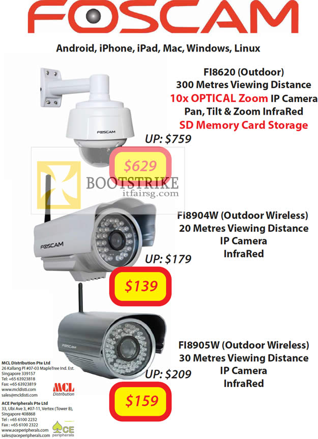 COMEX 2012 price list image brochure of MCL Distribution Ace Peripherals Foscam IPCam FI8620, FI8904W, FI8905W