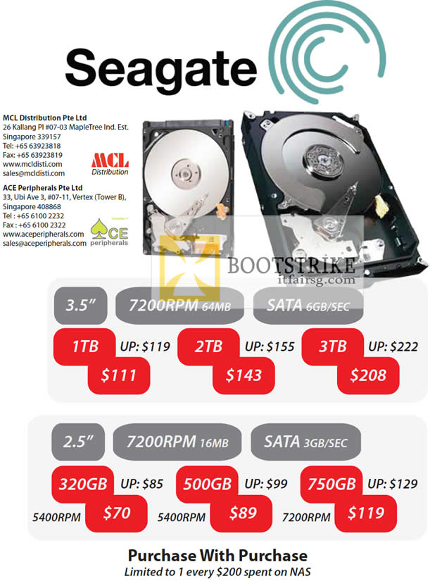 COMEX 2012 price list image brochure of MCL Distribution Ace Peripherals Seagate Hard Disk HDD Storage