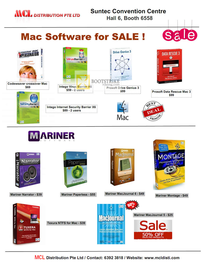 COMEX 2012 price list image brochure of MCL Distribution Mac Software Prosoft, Intego Internet Security, Codeweaver, Mariner Narrator, MacJournal, Montage