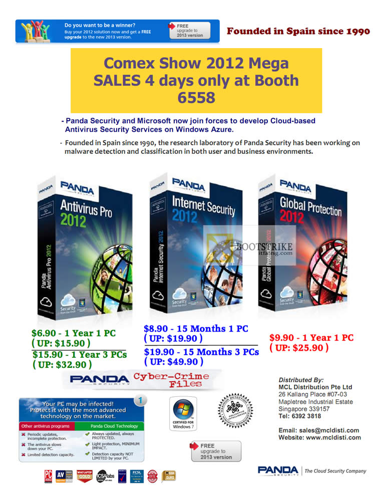 COMEX 2012 price list image brochure of MCL Distribution Panda Antivirus Pro 2012, Panda Internet Security 2012, Panda Global Protection 2012