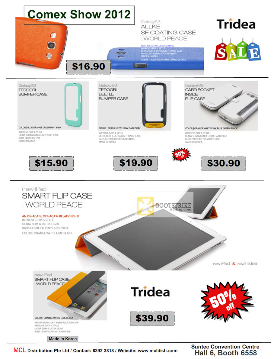 COMEX 2012 price list image brochure of MCL Distribution Tridea Galaxy S III Case, Tedoori, IPad Flip Case World Peace