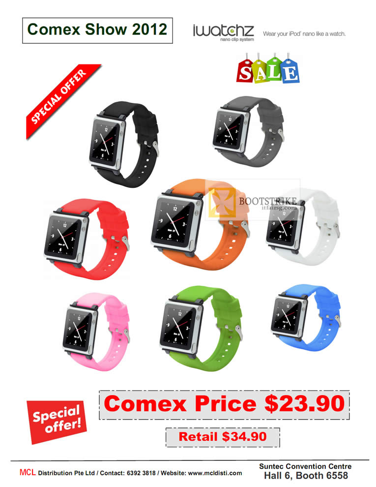 COMEX 2012 price list image brochure of MCL Distribution IWatchz IPod Nano Clip System