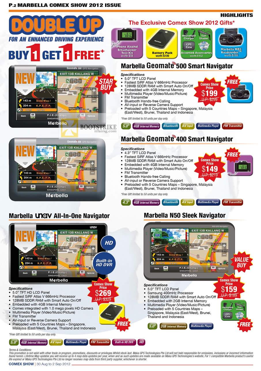 COMEX 2012 price list image brochure of Maka GPS Marbella Geomate 500, 400, Unav, N50 Sleek Navigator