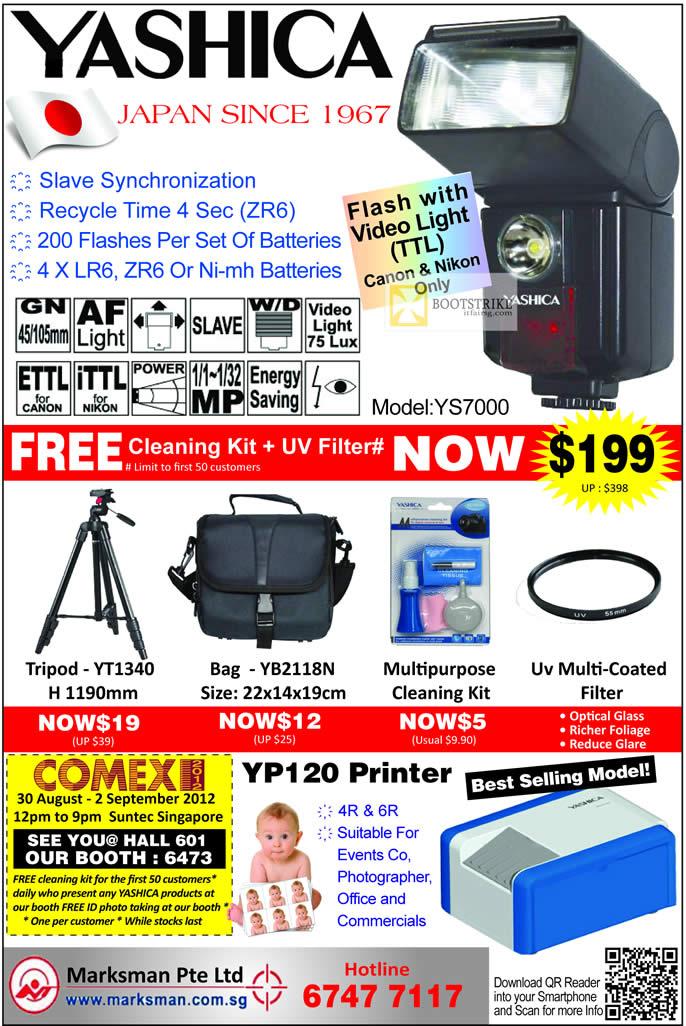 COMEX 2012 price list image brochure of Marksman Yashica Flash YS7000, Cleaning Kit, Bag, Tripod YT1340, YP120 Printer