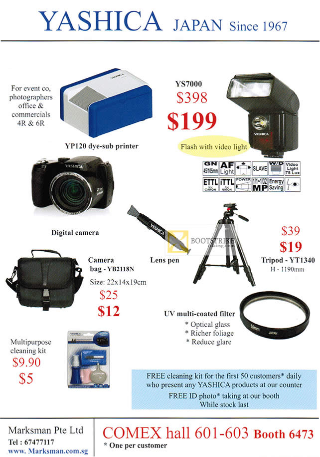 COMEX 2012 price list image brochure of Marksman Yashica YS7000 Flash, Tripod YT1340, Camera Bag YB2118N, Filter, Cleaning Kit
