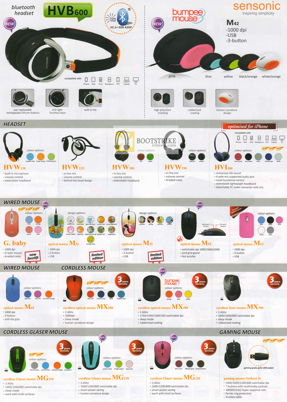 COMEX 2012 price list image brochure of Mclogic Sensonic Bluetooth Headsets, Mouse, Wireless, Glaser Mouse