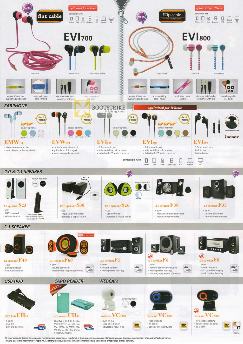 COMEX 2012 price list image brochure of Mclogic Sensonic Earphones, Zip Cable, Speakers, USB Hub, Card Reader, Webcam
