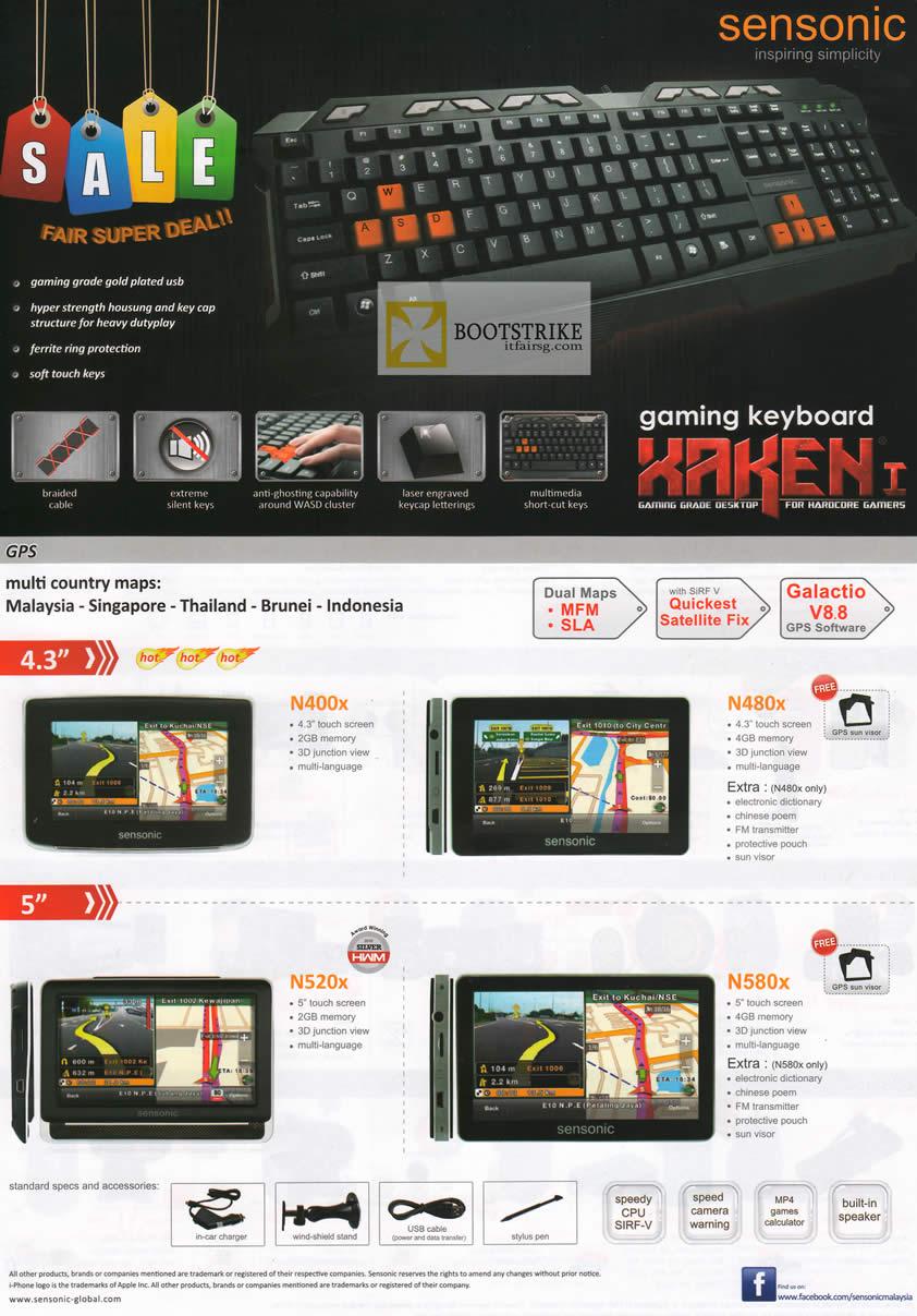 COMEX 2012 price list image brochure of Mclogic Sensonic Gaming Keyboard Xaken I, GPS Navigator N400x Galactio V8.8, N480x, N520x, N580x