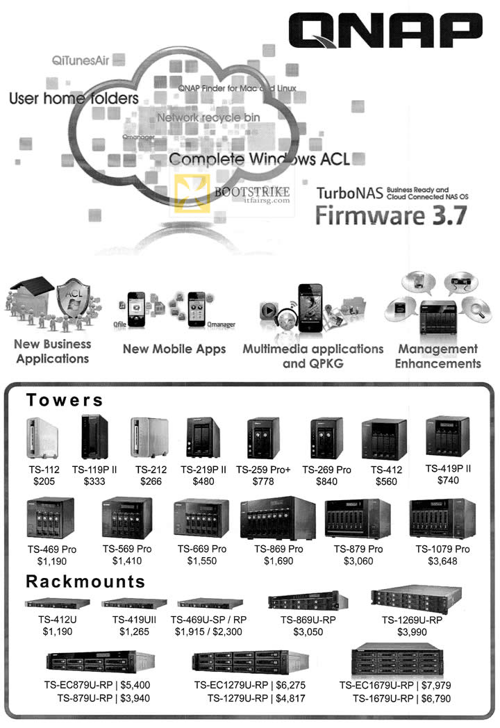 COMEX 2012 price list image brochure of Memory World Qnap Towers TS 112 119P II 212 219P II 259 Pro Plus, TS-412U 419UII, Rackmounts TS-412U TS-419UII