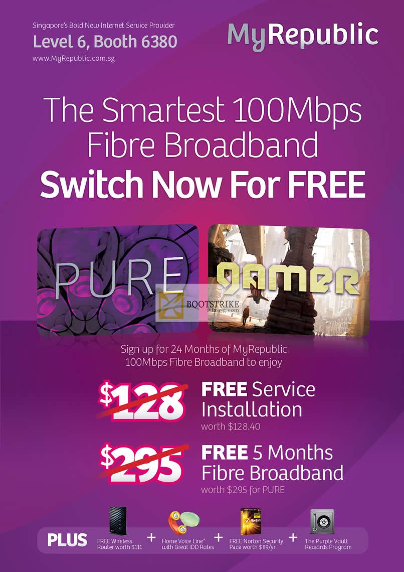 COMEX 2012 price list image brochure of MyRepublic Fibre Broadband 100Mbps Fibre Broadband Pure, Gamer Free Installation, Free 5 Months