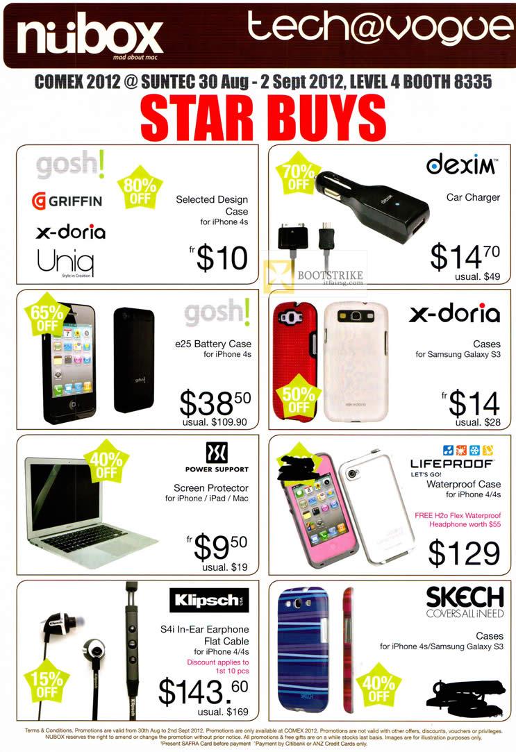 COMEX 2012 price list image brochure of Newstead Nubox Apple Accessories Case, Dexim Car Charger, Gosh, X-Doria, Klipsch S4i Earphones, Skech, Lifeproof