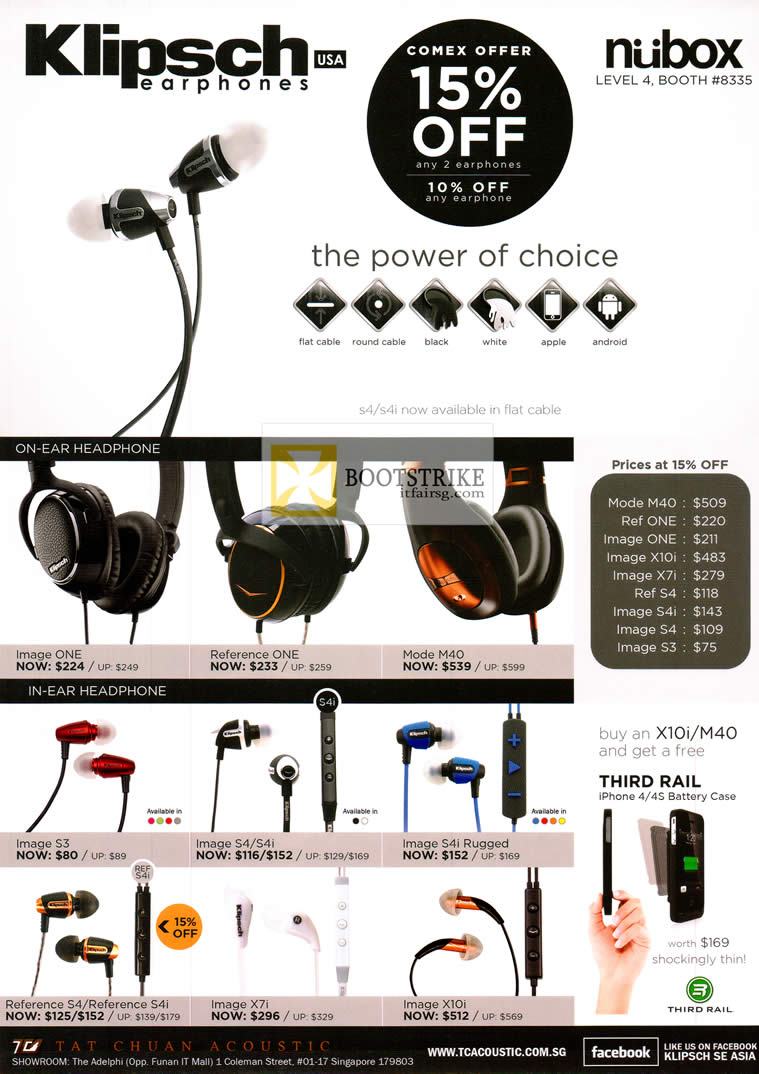 COMEX 2012 price list image brochure of Newstead Nubox Klipsch Earphones Image One S3 S4 S4i Rugged X7i X10i, Reference One S4 S4i, Mode M40