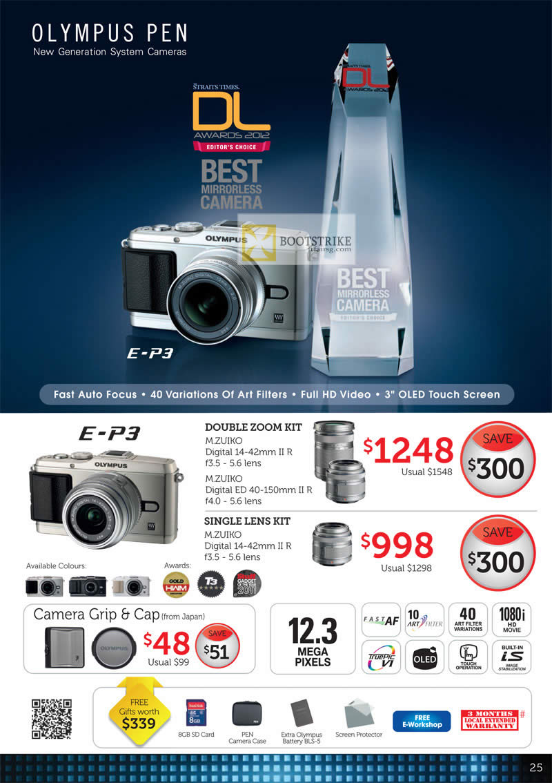 COMEX 2012 price list image brochure of Olympus Digital Camera Pen Accessories E-P3, Double Zoom Kit, Single Lens Kit, Camera Grip, Cap