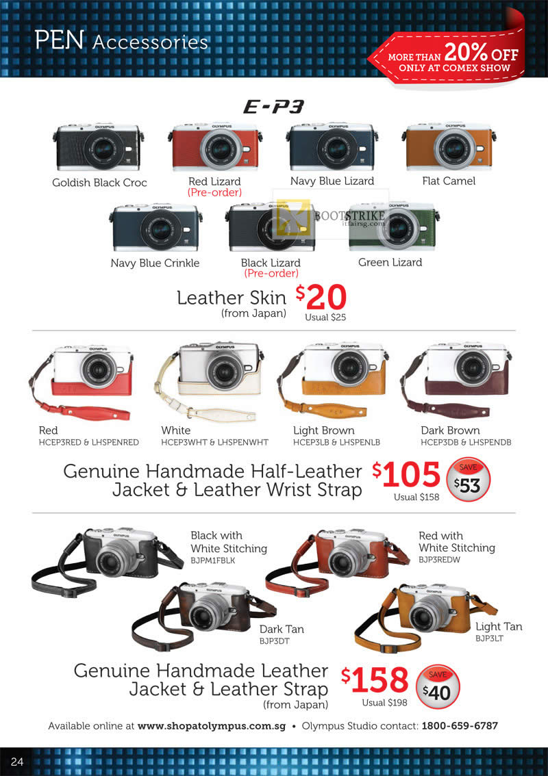COMEX 2012 price list image brochure of Olympus Digital Camera Pen Accessories E-P3, Leather Skin, Genuine Handmade Leather Jacket, Strap