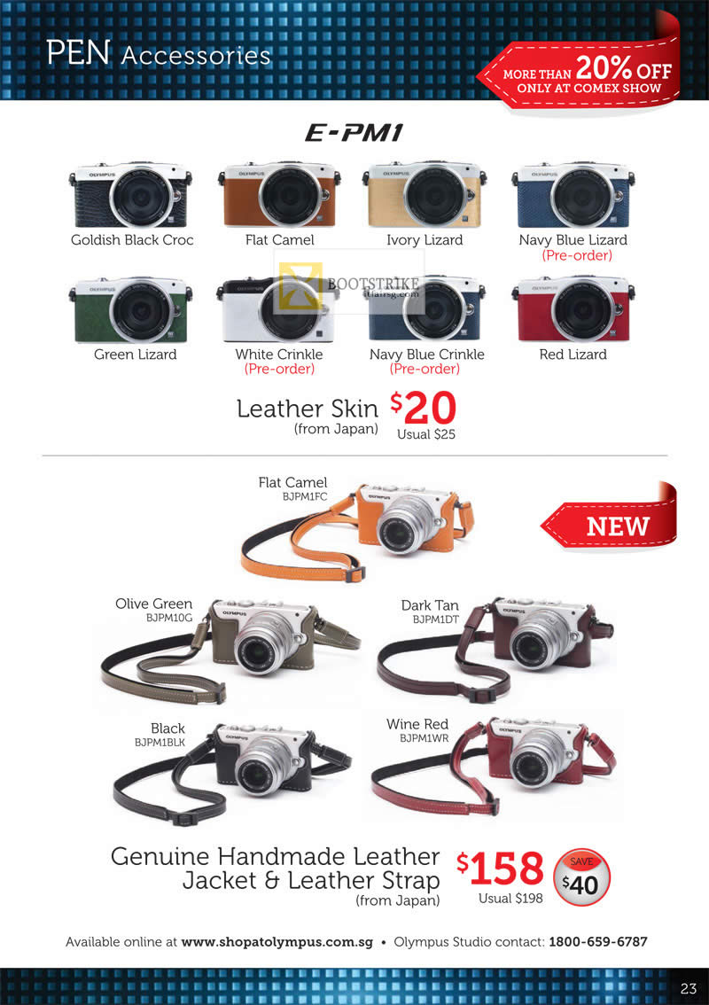 COMEX 2012 price list image brochure of Olympus Digital Camera Pen Accessories E-PM1, Leather Skin, Genuine Handmade Leather Jacket, Strap