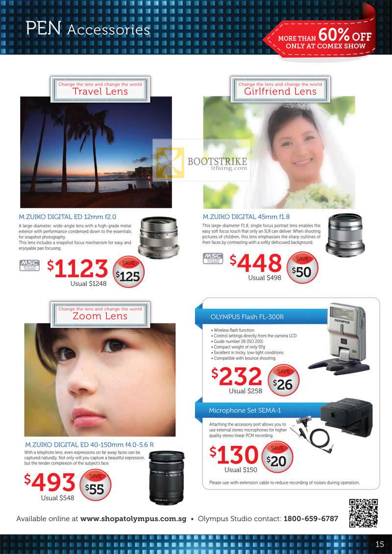 COMEX 2012 price list image brochure of Olympus Digital Camera Pen Accessories M.Zuiko Digital ED, Flash FL-300R, Microphone Set SEMA-1