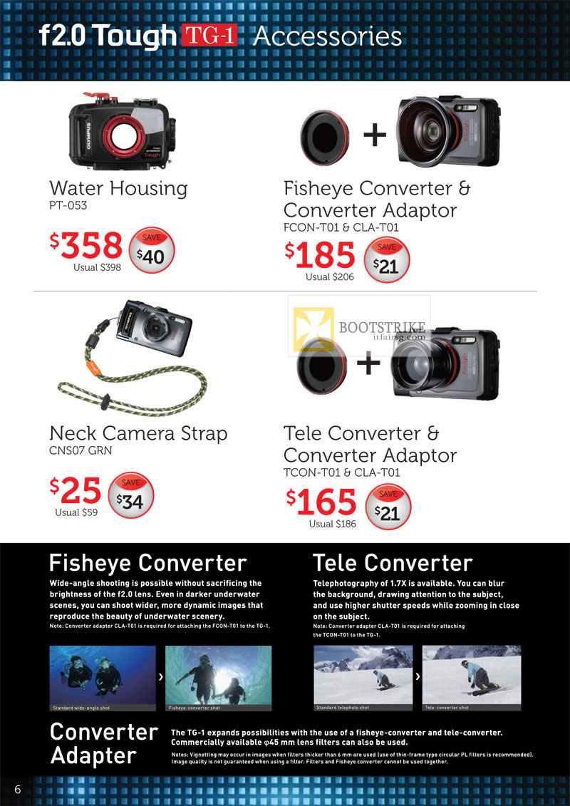 COMEX 2012 price list image brochure of Olympus Digital Camera Tough TG-1 Accessories Water Housing PT-053, Fisheye Converter FCON-T01, CLA-T01, Tcon-T01, CNS07 GRN