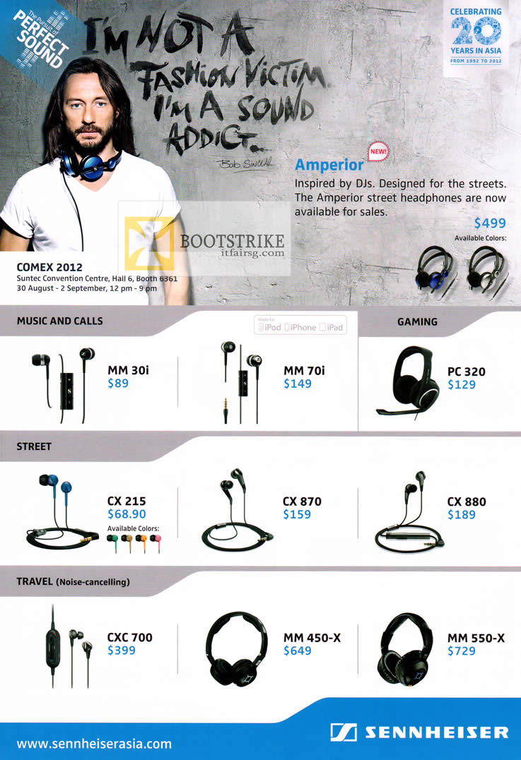 COMEX 2012 price list image brochure of Pantrade Sennheiser Earphones, Headphones, MM30i, MM70i, PC320, CX880, CX870, CX215, CXC 700, MM 450-X, MM550-X
