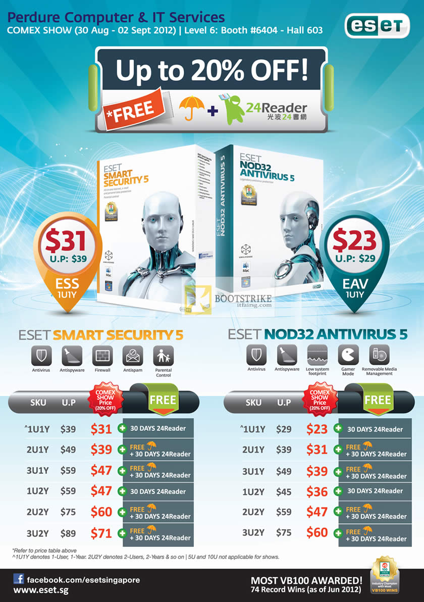 COMEX 2012 price list image brochure of Perdure ESET Smart Security 5, ESET NOD32 Antivirus 5