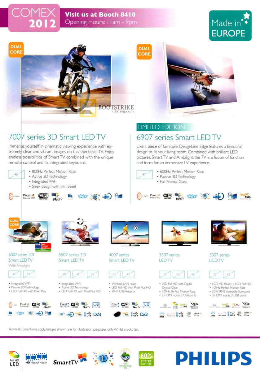 COMEX 2012 price list image brochure of Philips LED TV 7007 Series, 6906 Series, Smart LED TV