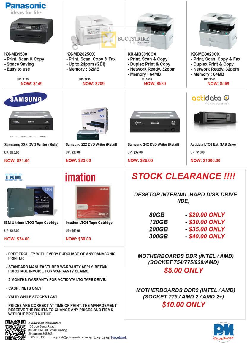 COMEX 2012 price list image brochure of Powermatic Panasonic Printers KX-MB1500, KX-MB2025CX, KX-MB3010CX, KX-MB3020CX, Samsung Optical Drive, ActiData SAS, Hard Disk HDD, Imation LT04, IBM Ultrium LTO-3