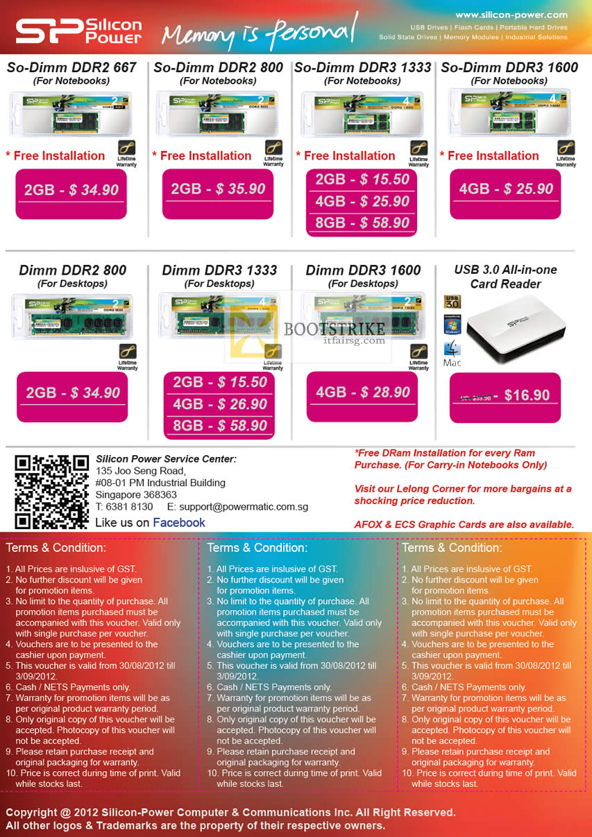 COMEX 2012 price list image brochure of Powermatic Silicon Power Memory RAM SO-DIMM DDR3, DDR2, DIMM, USB Card Reader