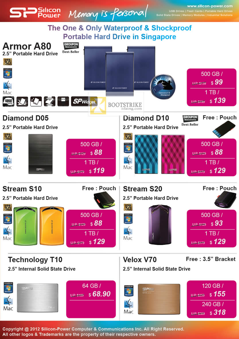 COMEX 2012 price list image brochure of Powermatic Silicon Power SP External Storage Armor A80, Diamond D05, D10, Stream S10, S20, Technology T10, Velox V70 SSD