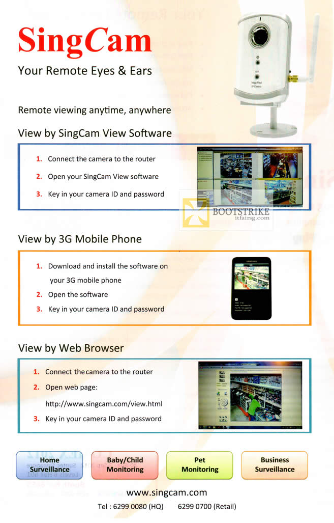 COMEX 2012 price list image brochure of Public N Private SingCam IPCam Features, 3G, Web Browser