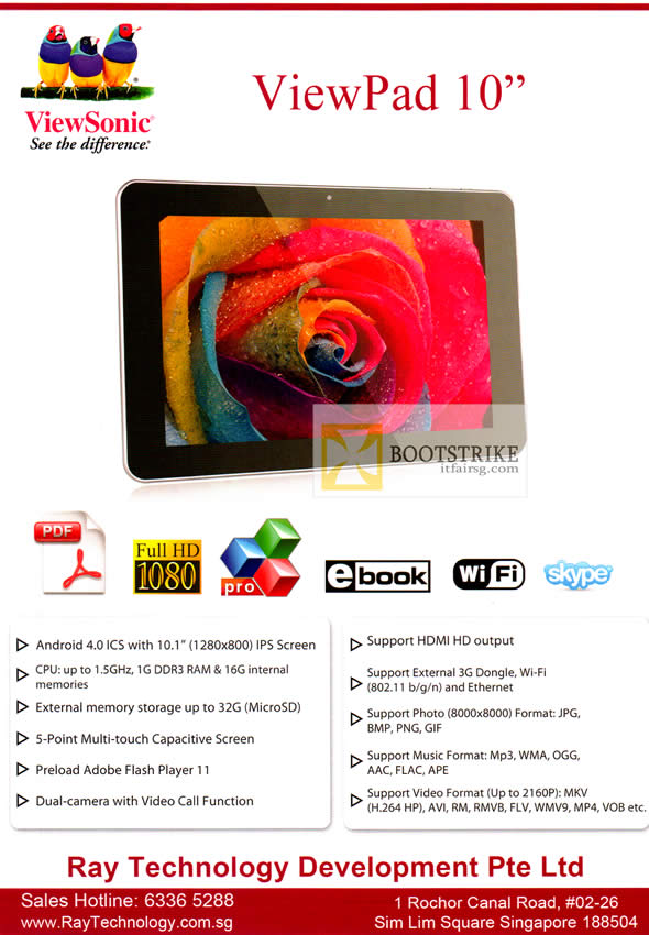 COMEX 2012 price list image brochure of Ray Tech Viewsonic ViewPad 10 Tablet Android