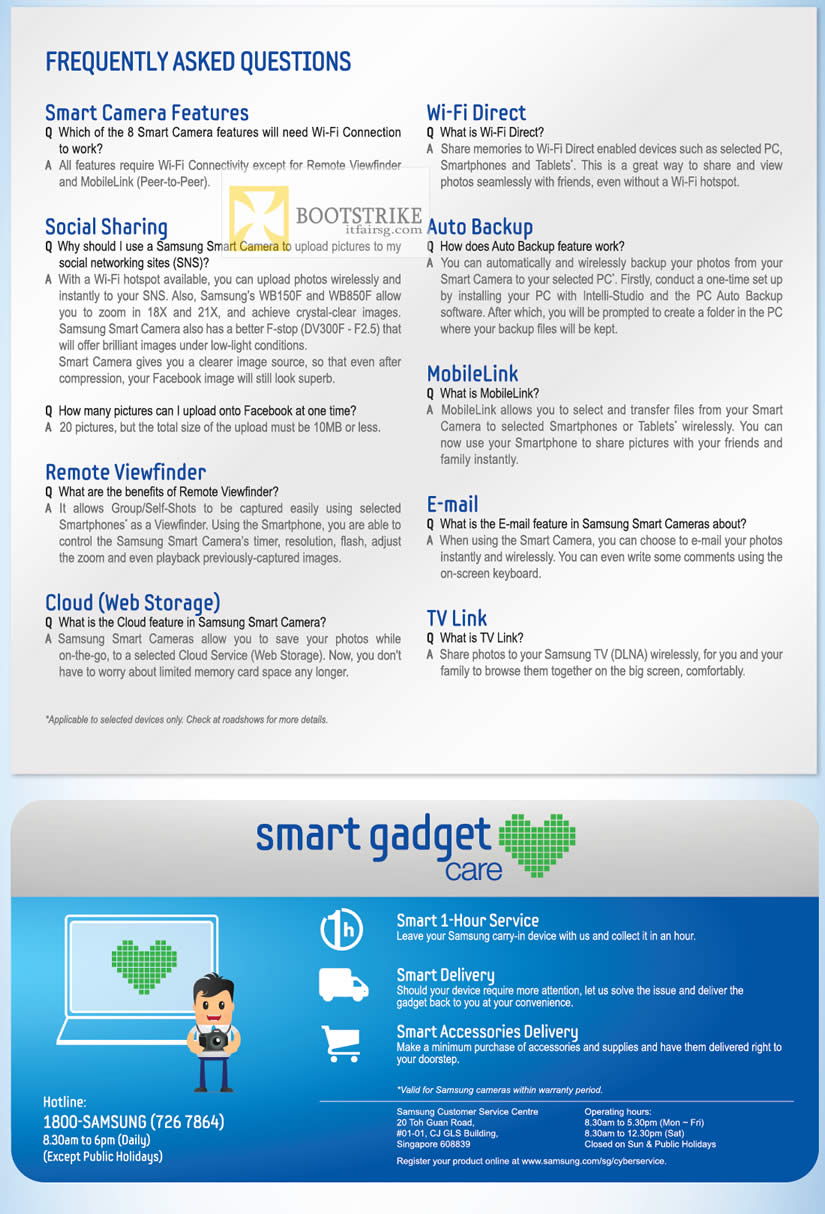 COMEX 2012 price list image brochure of Samsung Digital Cameras FAQ, Smart Gadget Care