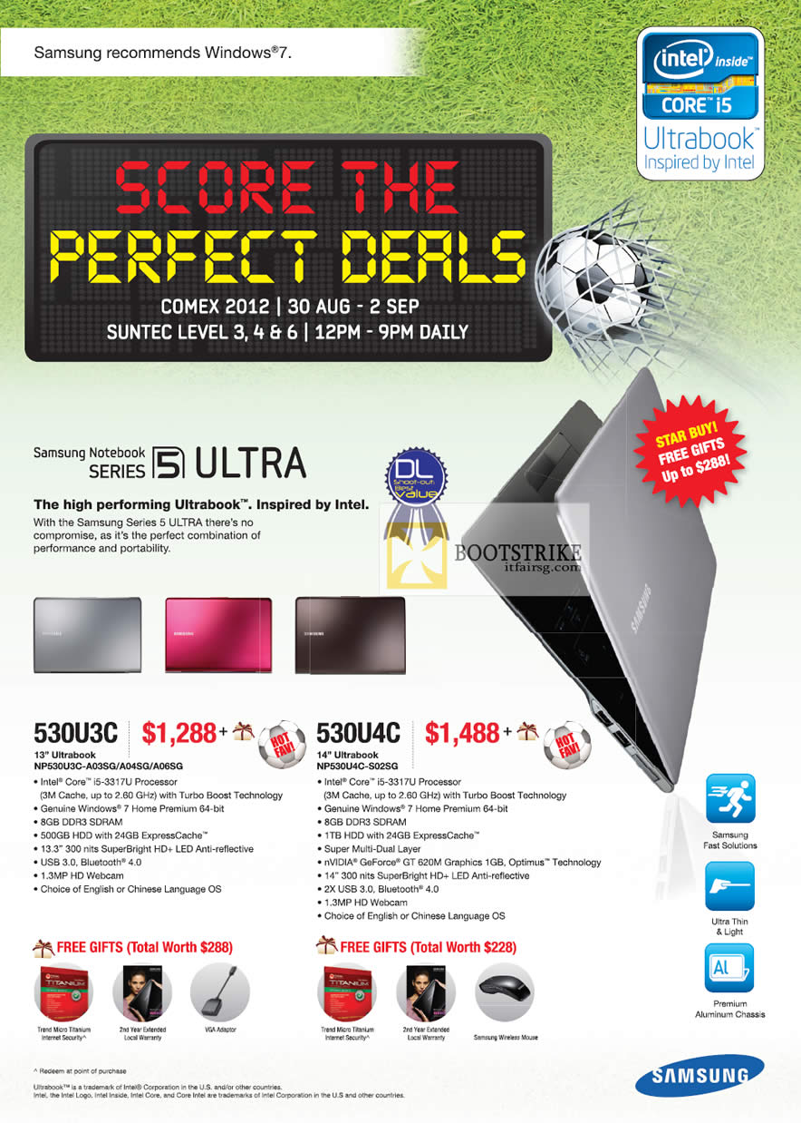 COMEX 2012 price list image brochure of Samsung Notebooks Series 5 NP530U3C-A03SG A04SG A06SG, NP530U4C-S02SG