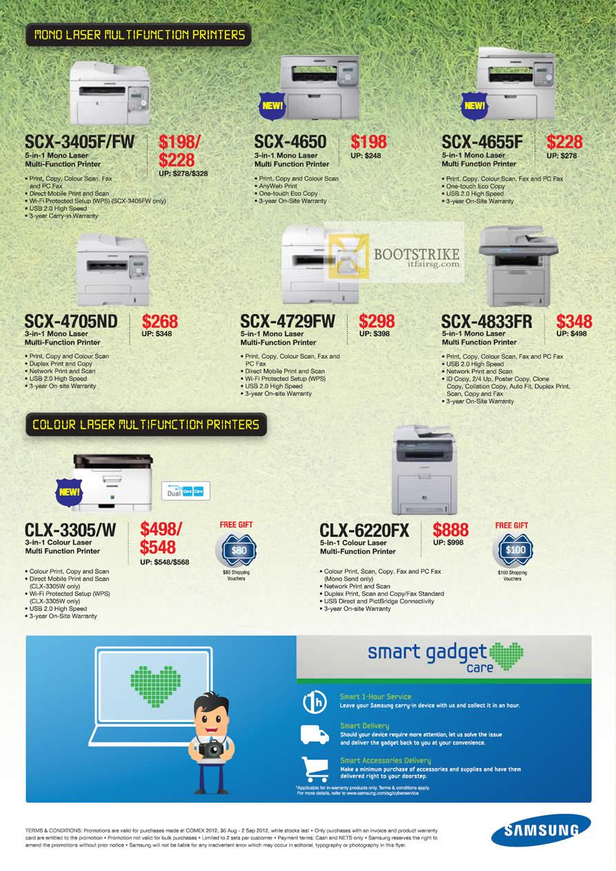 COMEX 2012 price list image brochure of Samsung Printers Laser SCX 3405F FW, SCX-4650, SCX-4655F, SCX-4705ND, SCX-4729FW, SCX-4833FR, CLX-3305 W, CLX-6220FX