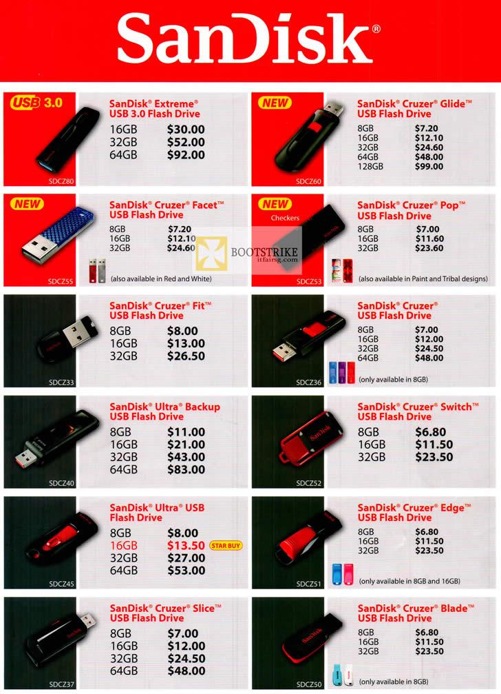COMEX 2012 price list image brochure of Sandisk Flash USB Storage Extreme, Cruzer Glide, Facet, Pop, Fit, Switch, Backup, Slice, Blade, Edge