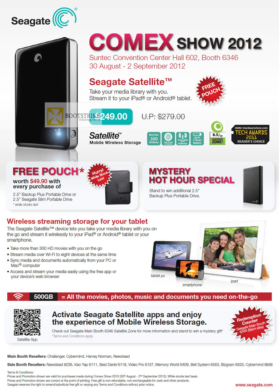 COMEX 2012 price list image brochure of Seagate Satellite Media Wireless Storage IPad Android