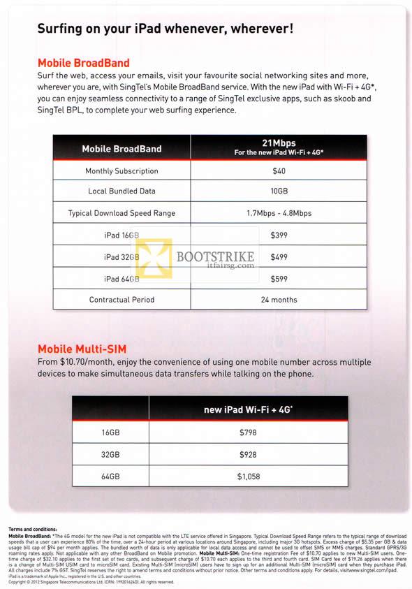 COMEX 2012 price list image brochure of Singtel Apple IPad Tablet Mobile Broadband Plans, Multi SIM Plans