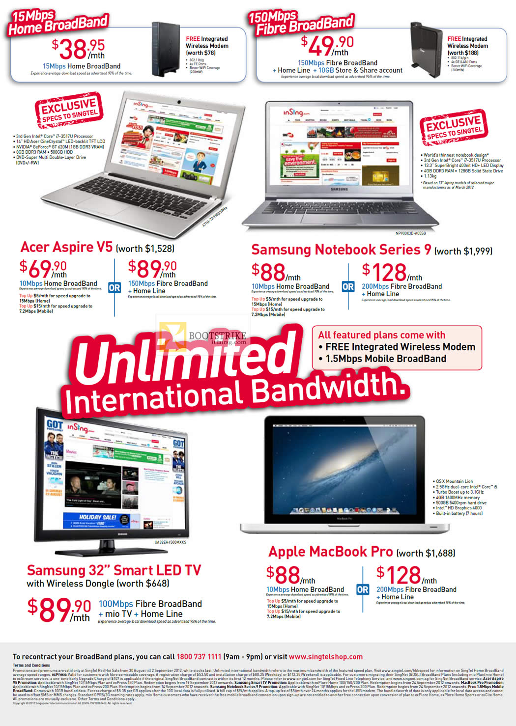 COMEX 2012 price list image brochure of Singtel Broadband ADSL 15Mbps Free Acer Aspire V5, Samsung Notebook Series 9, Samsung 32 Smart LED TV, Apple MacBook Pro, Mio TV