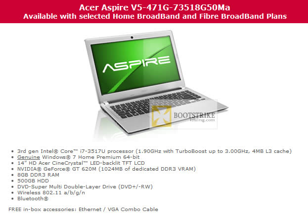 COMEX 2012 price list image brochure of Singtel Broadband Free Acer Aspire V5-471G-73518G50Ma Notebook Specifications