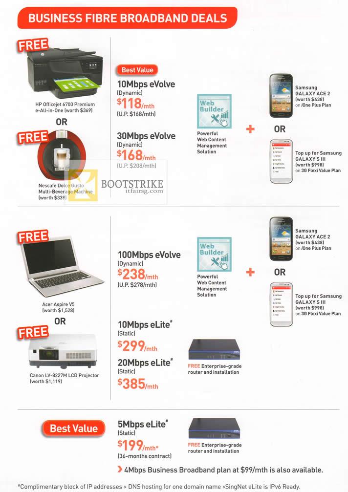 COMEX 2012 price list image brochure of Singtel Business Fibre Broadband 10Mbps EVolve, 30Mbps, 100Mbps, 10Mbps, 5Mbps