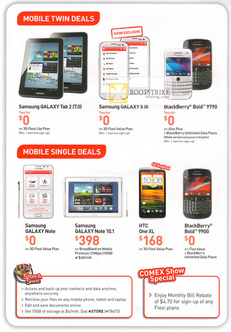 COMEX 2012 price list image brochure of Singtel Business Mobile Smartphones Samsung Galaxy Tab 2, S III, Note, Note 10.1, HTC One XL, Blackberry Bold 9900, 9790