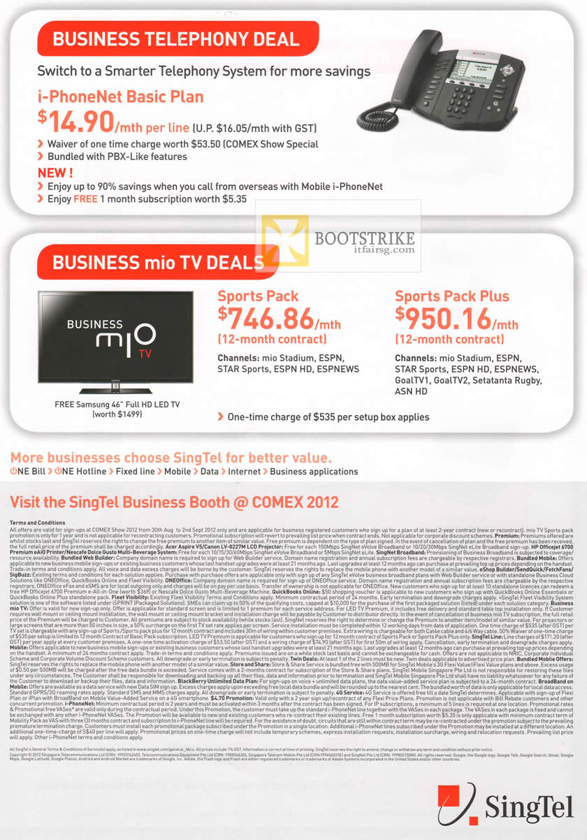 COMEX 2012 price list image brochure of Singtel Business Telephony, Mio TV Sports Pack, Plus
