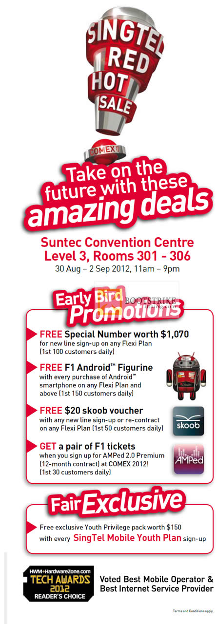 COMEX 2012 price list image brochure of Singtel Early Bird Promotions, Skoob, Free Special Number, Free F1 Android Figurine, F1 Tickets, Youth Privilege Pack