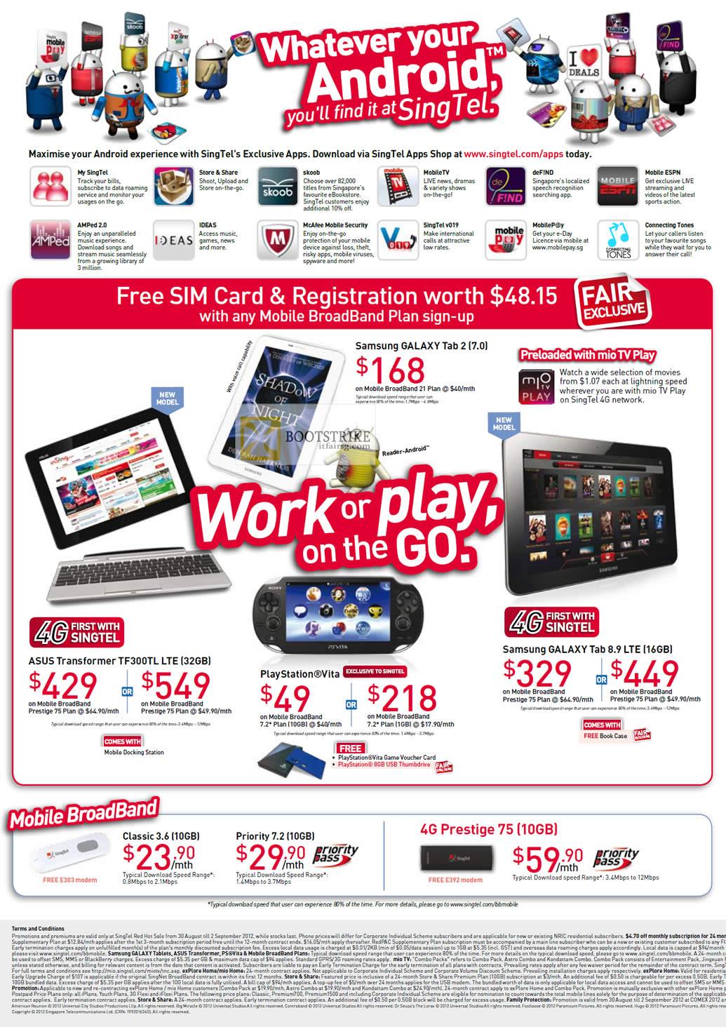 COMEX 2012 price list image brochure of Singtel Free SIM Card Registration, Samsung Galaxy Tab 2 7.0, Galaxy Tab 8.9 LTE, ASUS Transformer TF300TL LTE, Playstation Vita, 4G Prestige 75, Classic, Priority