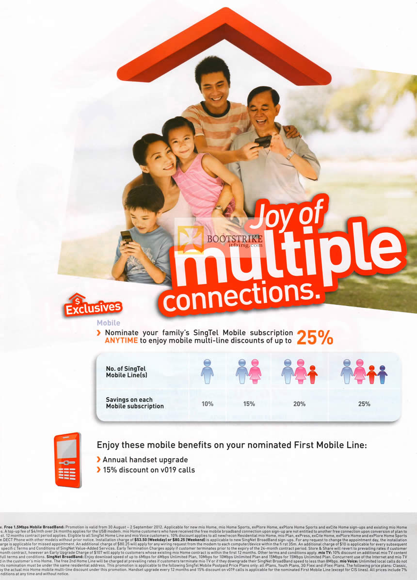 COMEX 2012 price list image brochure of Singtel Mobile Multiple Connections Multi Line Discounts