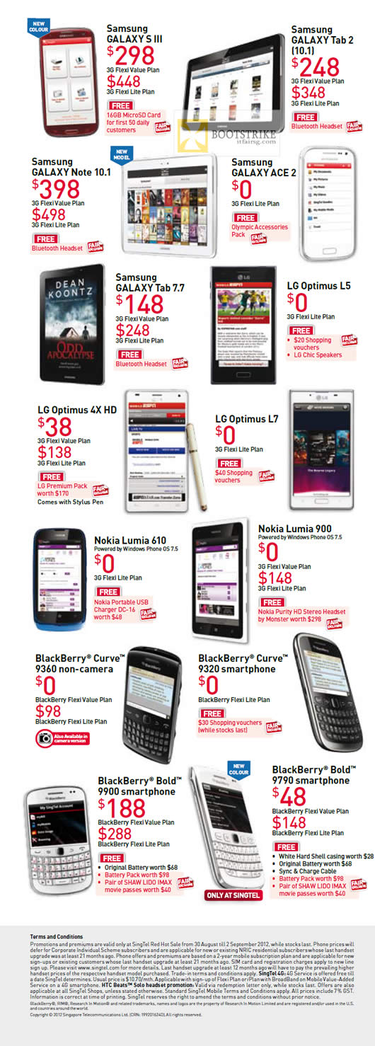 Singtel Samsung Galaxy S III Tab 2 101 Note 101 Ace 2