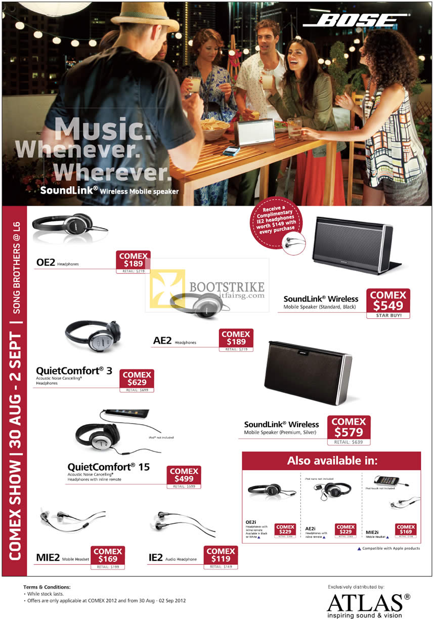 COMEX 2012 price list image brochure of Song Brothers Bose Headphones OE2 AE2, QuietComfort 3 15, Mobile Headset IE2 MIE2, SoundLink Wireless Mobile Speaker